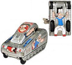 c.1957 Linemar, Popeye Turn-Over Tank