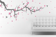 Cherry Blossom Tree Wall Decal with birds wall stickers for bedrooms Decals Home Decor Art by DecalIsland - Cherry Blossom Wall Decal SD 013