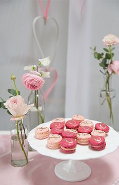 Pink and rasberry macarons for an XOXO themed baby shower on Inspired By This