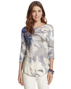 Chicos Womens Watercolor Floral Annie Pullover from Chico's on Catalog Spree