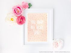 Items similar to You Make My Heart Smile Typography Art Print Poster Printable White Lettering on Light Pink Watercolor Flower Background on Etsy Watercolor Flower Background, Watercolor Flowers, White Letters, Black Letter, Green Wreath, Geometric Background, Flower Backgrounds, Typography Inspiration, Typography Art