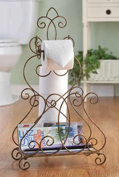 Scroll Toilet Paper Holder w/ Magazine Rack