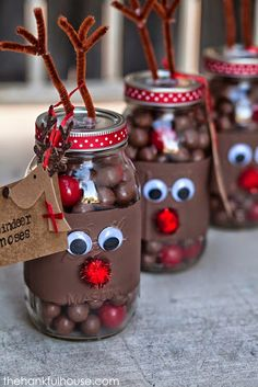 10 Easy DIY Crafts Decorating Ideas for Christmas and Fun Projects 3.Reindeer Noses Mason Gift Jars