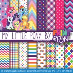 MY LITTLE PONY Digital Paper Patterns Background rainbow girly fiuscha chevron for party printables invitations scrapbooking on Etsy, $4.28