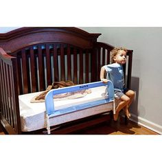 Dream On Me Bed Rail In Blue, we can't wait to get ours for our son