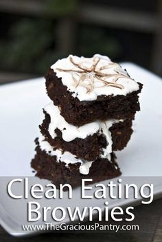 Clean Eating Brownies      1 (16 ounce) container almond butter     4 egg whites     1 cup honey     1 tablespoon vanilla     1/2 cup unsweetened cocoa powder     1 teaspoon baking soda     1 cup grain sweetened chocolate chips (non-dairy chips for those avoiding dairy)
