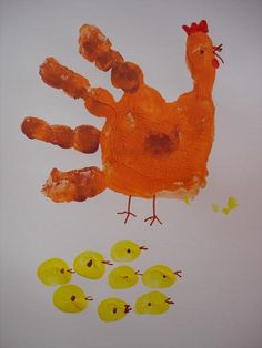 Loisin Elementary School - Trees and hens in pictures - Z ECOLE Paques, lapins, oeufs, poules, . Easter Crafts For Kids, Toddler Crafts, Crafts To Do, Diy For Kids, Handprint Art, Hens And Chicks, Farm Theme, Holiday Crafts, Diys