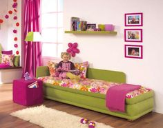 Love to do this type of small bed (different colors) in the master for those kiddie nightmares.