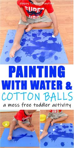 Painting with Water & Cotton Balls - HAPPY TODDLER PLAYTIME Painting with water and cotton balls is a fun and mess free twist on a classic toddler activity. It's also a super easy way to entertain your toddler! Source by and me activities Toddler Learning Activities, Games For Toddlers, Infant Activities, Preschool Activities, Art With Toddlers, Painting With Toddlers, Cotton Ball Activities, Activities For 4 Year Olds, Toddler Activities Daycare