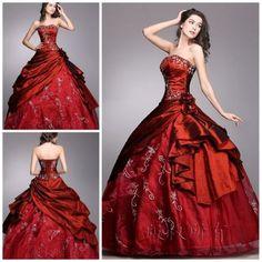 Wine Red Ball Gown Wedding Dress Evening Dress Prom Dress Bridal Gown