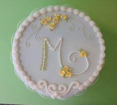 Cakess decoration. Pasteles decorados. Glasé real. Royal icing. Iniciales- Rosas. Rosa María escribano