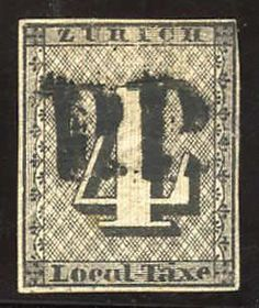 Zurich 4, T. II, with pronounced vertical background lines, full till good margins, centric cancellation with clear, black of Zurich P. P., defective, however genuine, unrepaired, nice presenting and with rare cancellation, certificate Nussbaum, SBK 24'000. 1S