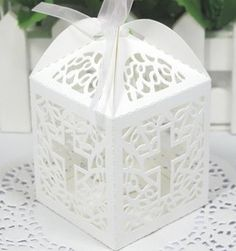 Cross cutout baptism communion christening Die cut Favor Boxes (12pcs) by Charmed, http://www.amazon.com/dp/B00CKEYAVO/ref=cm_sw_r_pi_dp_Sb7Asb16N1V69