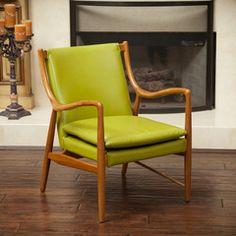 Baconton Green Leather Wood Frame Armchair