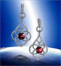Rhodalite Garnet earrings set in 18kw with diamonds...gorgeous!!! #MSImagines #earrings