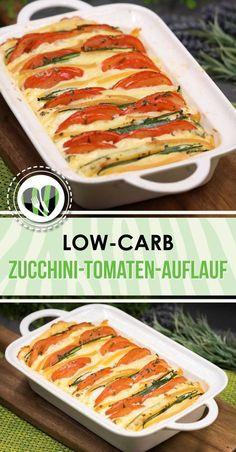 Der Zucchini-Tomaten-Auflauf mit Raclettekäse ist lowcarb und glutenfrei.