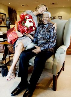 Celine Dion with Nelson Mandela. BelAfrique your personal travel planner - www.BelAfrique.com