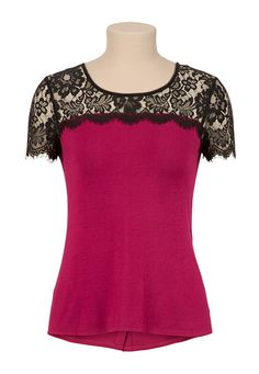 High-low Lace Shoulder Button Back Top (original price, $26) available at #Maurices