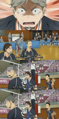 Suga loses his shit and it's beautiful.<< and Dadchi trying to diffuse the tension of momsuga's rage 😂 Haikyuu Kageyama, Haikyuu Funny, Haikyuu Fanart, Nishinoya, Kenma, Hinata, Daisuga, Volleyball Anime, Haikyuu Wallpaper