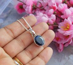 Dark blue sapphire pendant necklace - Bezel pendant - Oval pendant - Blue pendant - Silver chain - Gift for her