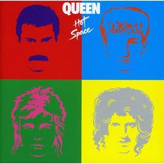 Queen - Hot Space album cover Hot Space:Queen go disco, with a decent cover that evokes the era perfectly. Blur ripped it off. But no-one in Blur had an awesome moustache. Queen Album Covers, 80s Album Covers, Greatest Album Covers, Box Covers, Justin Hawkins, Lp Cover, Cover Art, Musica 80s, Queen David Bowie
