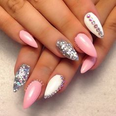 Pink, White and Silver Nail Art with Rhinestones Accents.