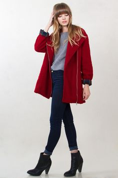 Sugar Lips Red Robin Furry Over Sized Coat Jacket