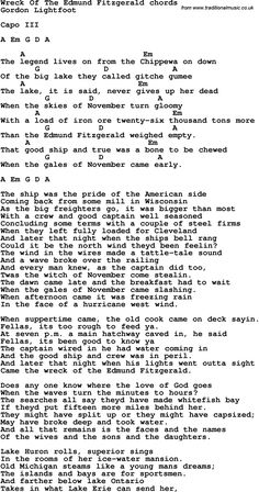Song Lyrics with guitar chords for Wreck Of The Edmund Fitzgerald
