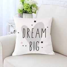 Παιδικό διακοσμητικό κάλυμμα μαξιλαριού dream big Sofa Throw Pillows, Cushions On Sofa, Dream Big, Owl Pillow, Cute Cartoon, Cartoon Rabbit, Decorative Cushions, Big Love, Kids Room
