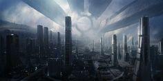 A city on a gigantic interstellar spacecraft a.k.a. Citadel from Mass Effect