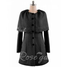 Vintage Scoop Collar Lace Single-Breasted Long Sleeves Women's Cape Coat