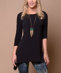 Look at this Lbisse Jet Black Sidetail Tunic on #zulily today!