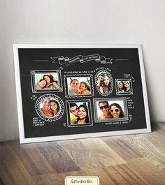 Poster História de Amor - casamento, aniversário, namoro, presente, personalizado, fotos, namorado, casal, criativo, poster, namorada criativa