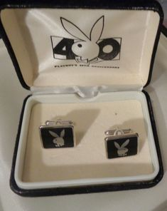 PRICE REDUCED! Vintage Playboy Bunny Cufflinks Original Box Awesome Gift for Husband GenX Off the Cuff Collectible Commemorative Memorabilia Gift for Him