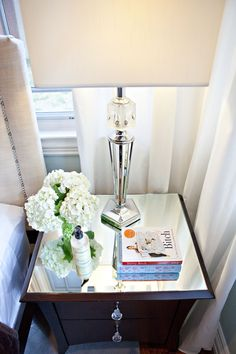 glass top added to a nightstand and crystal knobs - A MUST to add to our current night stands.