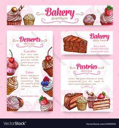 Bakery and pastry desserts banner template set Vector Image Cafe Menu Design, Menu Card Design, Cake Logo Design, Menu Template, Banner Template, Cupcake Shops, Cupcake Cakes, Chocolate Template, Cafeteria Menu