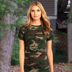 District Made™-Ladies Perfect Weight Camo Crew Tee DM104CL
