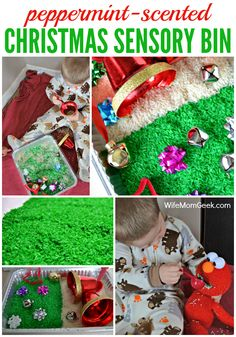 This Christmas sensory bin is full of goodies to stimulate the senses. Bells for ringing, bows and rice for texture and peppermint to make it smell great.