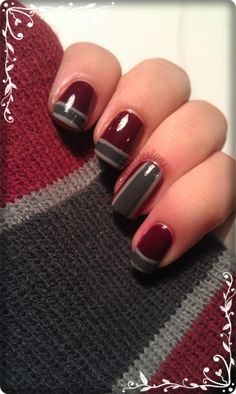 DevilishPolish - love the colors, but wld use the maroon down the middle on the ring finger.