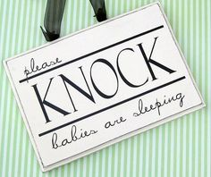 Please Knock Babies Sleeping Sign Twins Sign by SaidInStoneOnline, $16.00