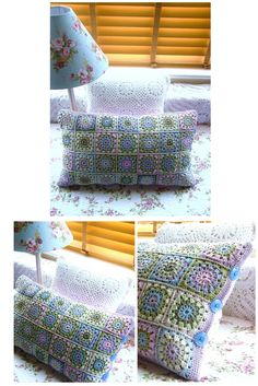 Cute crochet pillow with button accent.