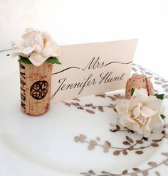 Succulent Flower Wedding Place Card Holder Wine Cork Winery Mint Decor – Kara's Vineyard Wedding