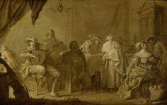 Adriaen Pietersz. van de Venne | A Musical Party, Adriaen Pietersz. van de Venne, c. 1635 - c. 1645 | Interieur met een musicerend gezelschap aan een gedekte tafel. Links een man met een luit, een vioolspeler en een man met een cister, tegen een tafel staat een cello geleund. Aan tafel verder enkele heren en dames, op de voorgrond staat een hond.