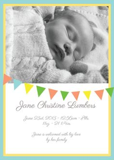Birth Announcement - bunting via Etsy