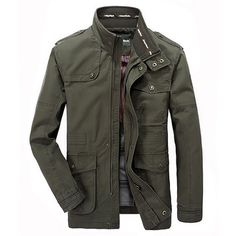 Plus Size Military Epaulets Outdoor Stand Collar Casual Cotton Jacket for Men