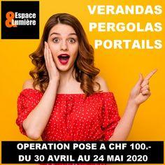 OPERATION POSE A CHF 100.- Espace et Lumière Chf, Business Help, The 100, Poses, Pergola, Portal Art, Balcony, Patio, Figure Poses