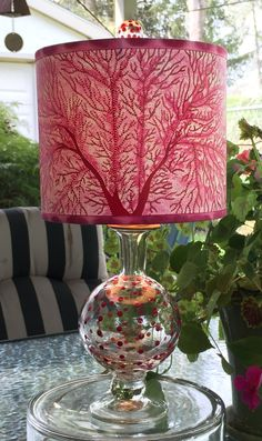 Spring green fan coral pierced lampshade new trim on ladybug moss one of a kind pretty in pink painted pierced lampshade on petite mozeypictures Choice Image