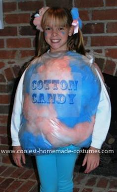 Homemade Bag of Cotton Candy Costume: My 10 year old daughter did not want a store bought costume this year! After being at a recent carnival, she decided to be a bag of cotton candy! We bought Purim Costumes, Candy Costumes, Homemade Costumes, Tutu Costumes, Creative Halloween Costumes, Homemade Halloween, Halloween Kids, Halloween Pumpkins, Halloween Party