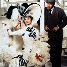 Audrey Hepburn as Eliza Doolittle and Rex Harrison as Professor Henry Higgins in My fair lady. My Fair Lady, Audrey Hepburn, Old Movies, Great Movies, Broadway, Eliza Doolittle, Iconic Dresses, Classic Movies, Movies