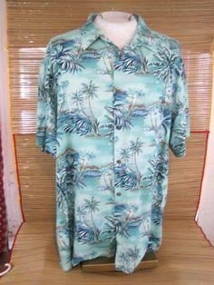 3b545230 ISLAND SHORES Men Hawaiian ALOHA shirt pit to pit 29 2XL rayon tropical  jungle #IslandShores #Hawaiian